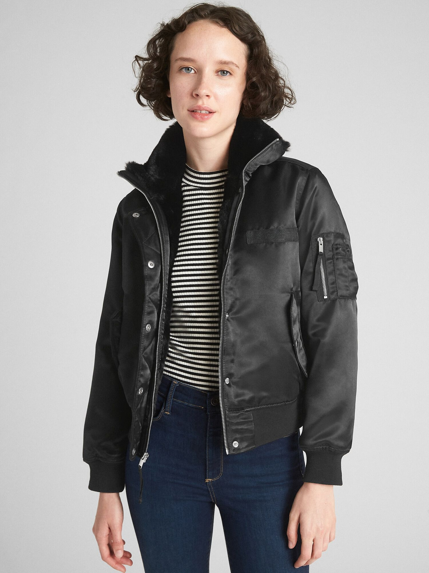 f1aa344f4 Faux-Fur Lined Bomber Jacket