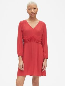 053e6611a47e6 Fit and Flare Long Sleeve Ruched V-Neck Dress