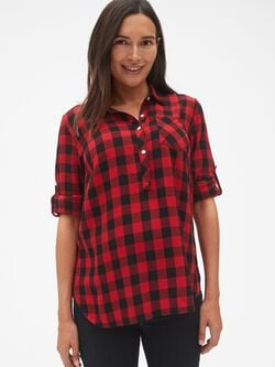 09276adff2 Maternity Roll-Sleeve Flannel Popover Shirt