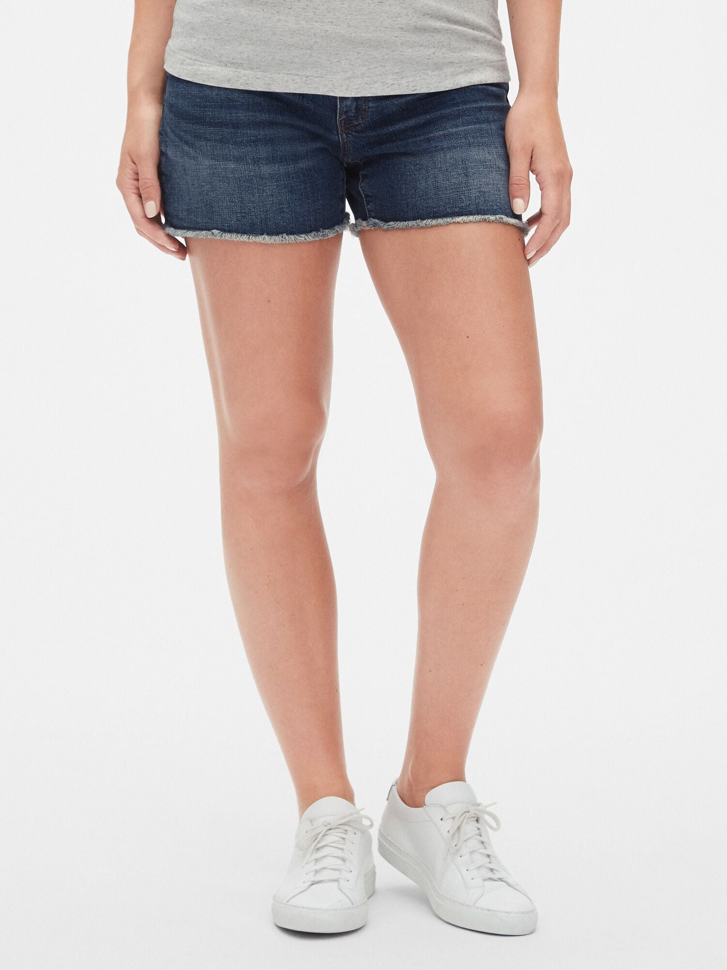 e341e15f1bf28 Maternity Inset Panel Denim Shorts with Raw Hem | Gap® UK