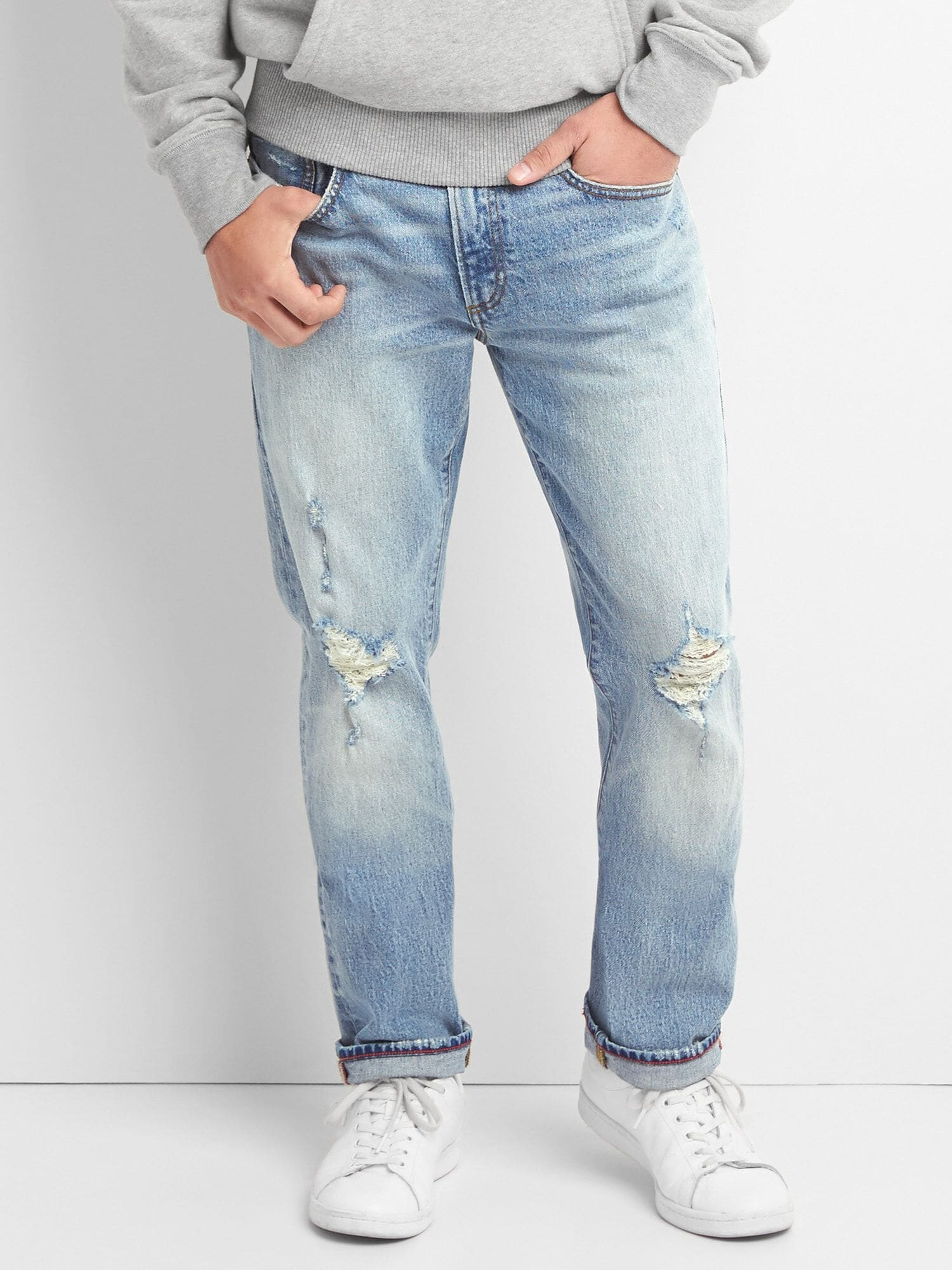 d8940f82d3d Limited-Edition Cone Denim® Distressed Slim Jeans with GapFlex