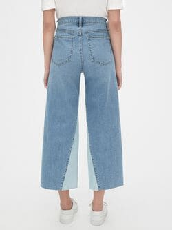 High Rise Wide Leg Crop Jeans With Secret Smoothing Pockets by Gap