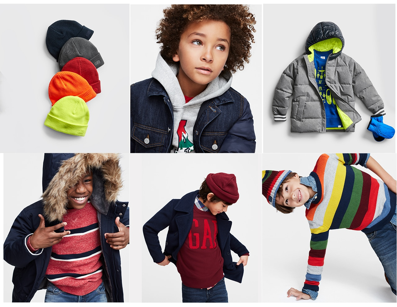 boys gift guide - boys in colorful outer wear clothing