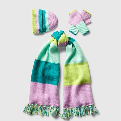 multicolor beanie, mittens, and scarf